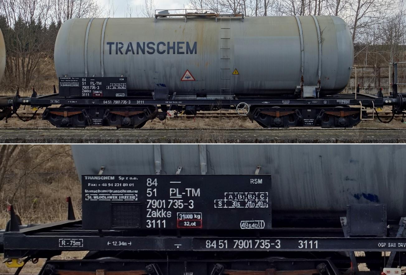 24. Stacja Dobre Miasto. Cysterna do przewozu RSM typu 405Rg TRANSCHEM (3).jpg