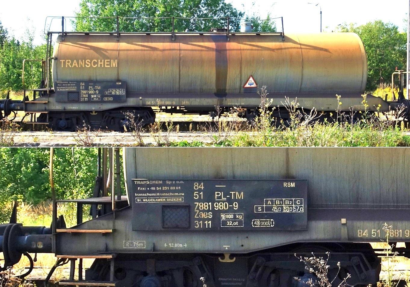 3. Stacja Dobre Miasto. Cysterna do przewozu RSM typu 29R TRANSCHEM (2).jpg