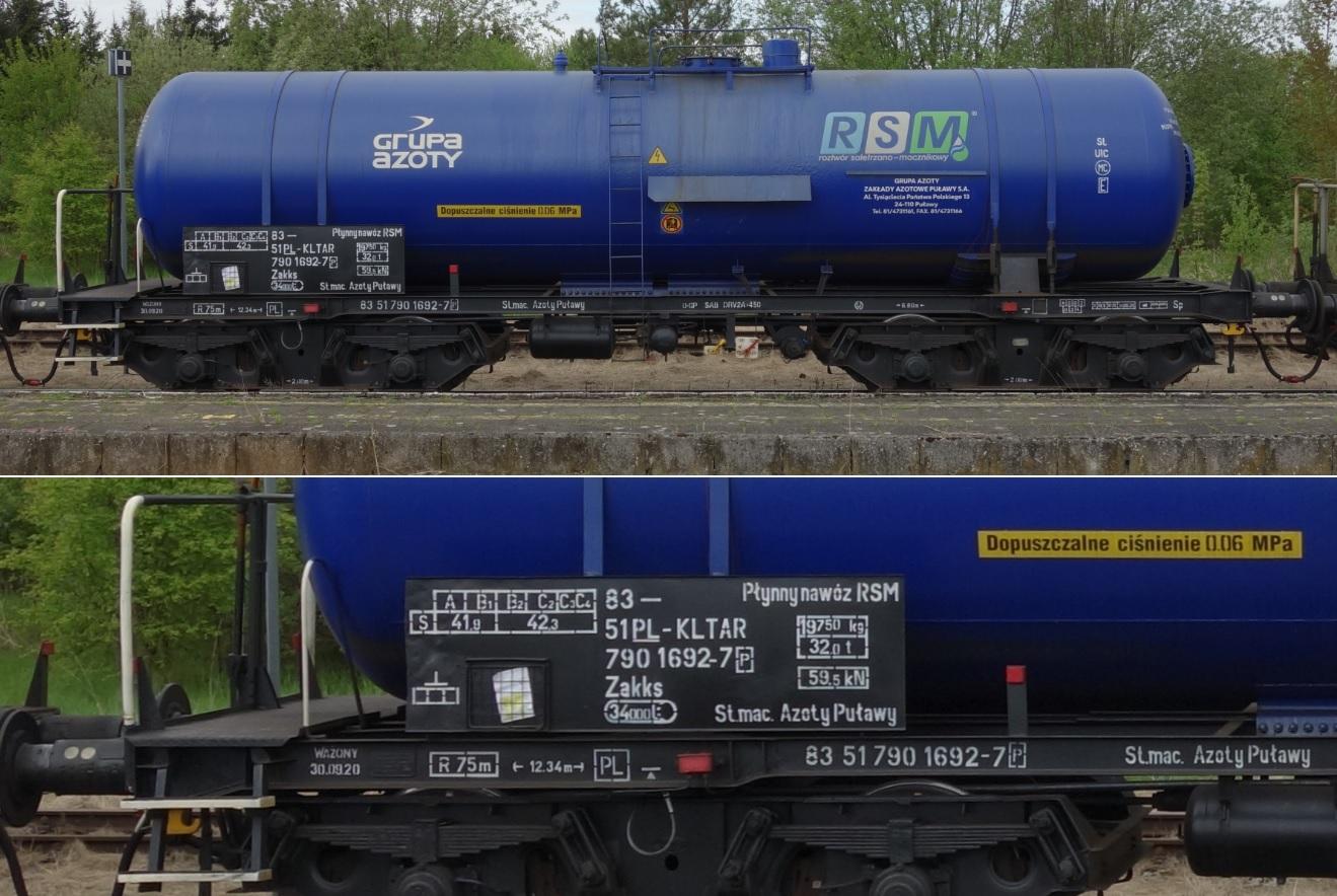 38. Stacja Dobre Miasto. Cysterna do przewozu RSM typu 408R KOLTAR Grupa Azoty (6).jpg