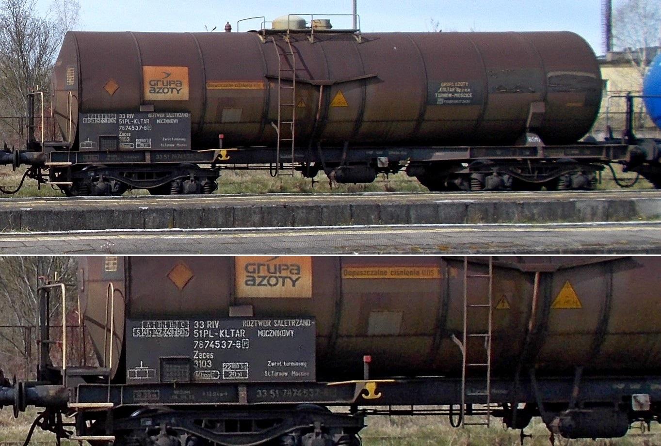 42. Stacja Dobre Miasto. Cysterna do przewozu RSM typu 435Ral KOLTAR Grupa Azoty (1).jpg