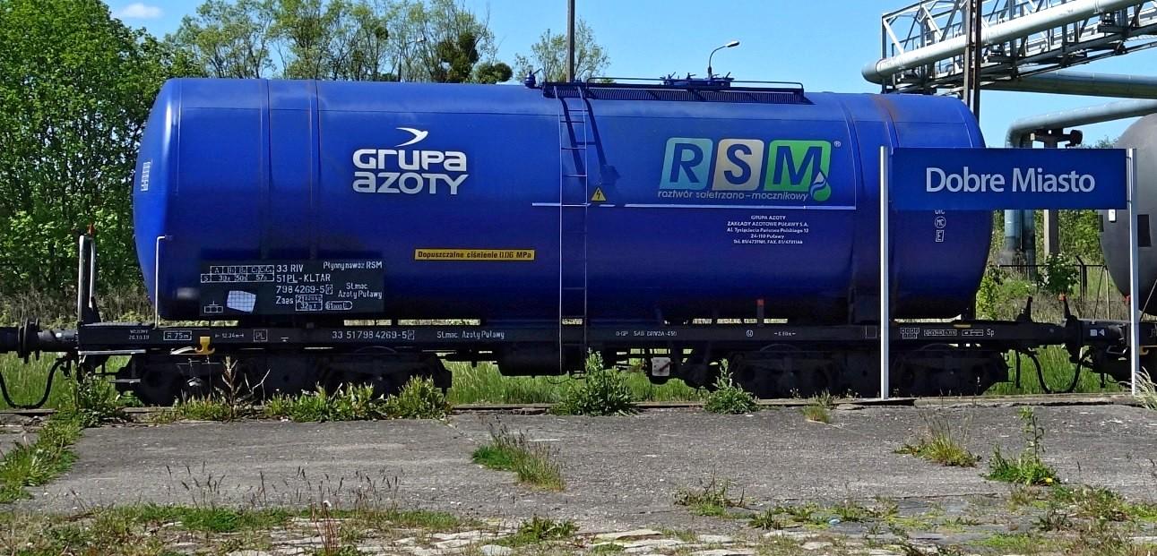 5. Stacja Dobre Miasto. Cysterna do przewozu RSM typu 406R KOLTAR Grupa Azoty (1b).jpg