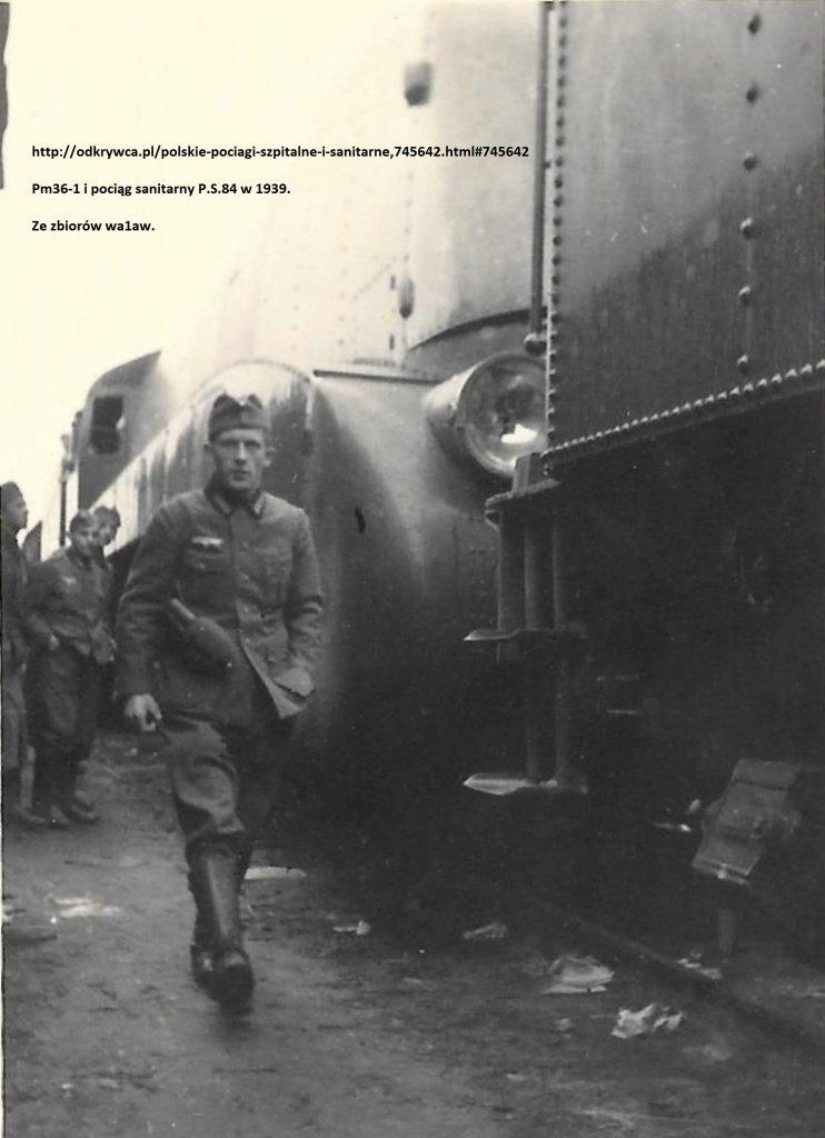 _1939 - pociąg sanitarny P.S.84 i parowóz Pm36-1.jpg