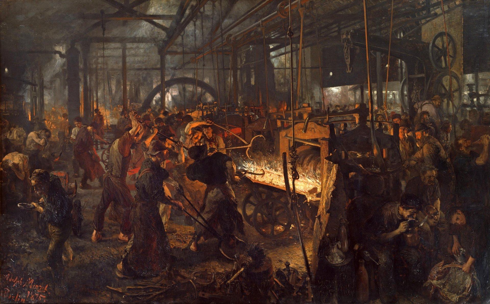 Adolph von Menzel 'Walcownia żelaza' 1875.jpg