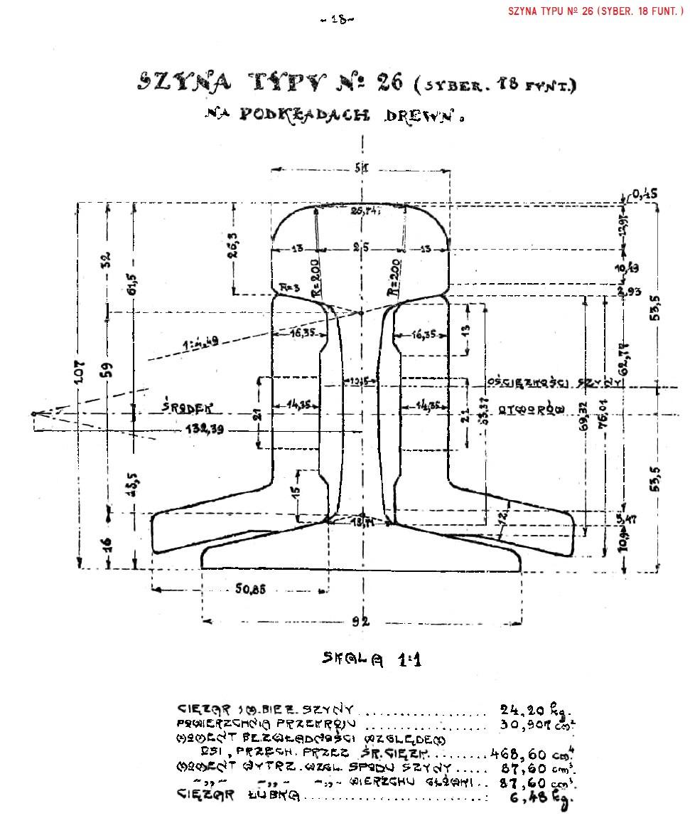 Album nawierzchni 1925. str. 18 - Szyna No 26 (syber. 18 funt.).jpg