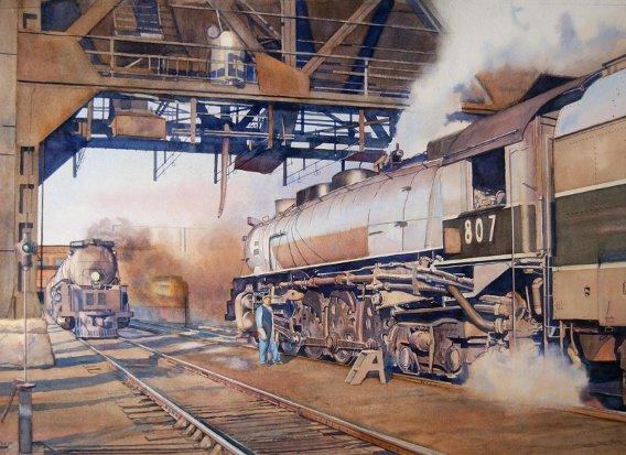Christian Oldham  Locomotives au dépôt.jpg