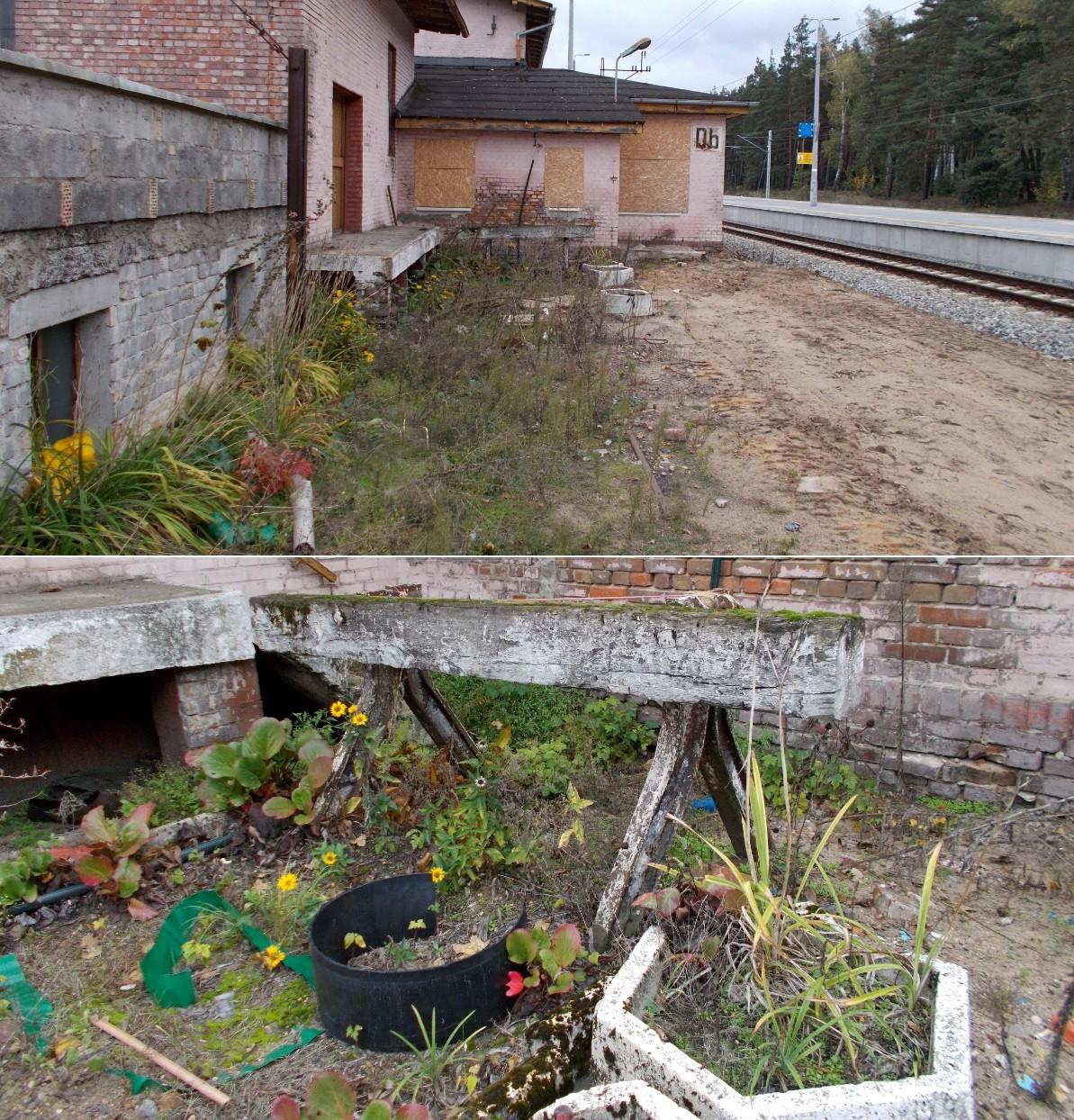 Dziembówko - stary kozioł oporowy przy budynku byłego dworca.jpg