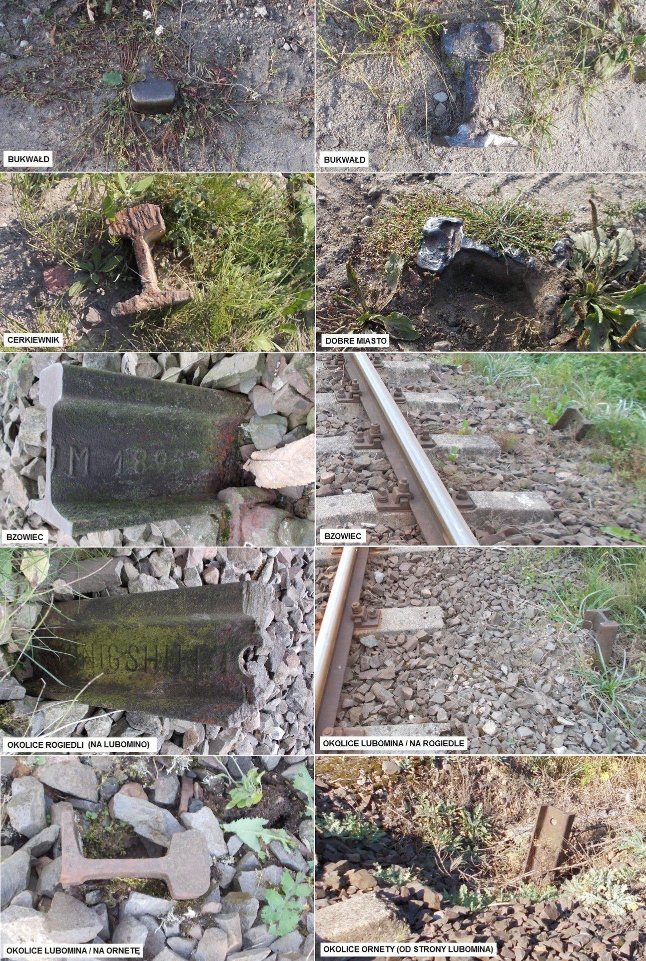 Fragmenty szyn na linii nr 221, odcinek Bukwałd - Orneta.jpg