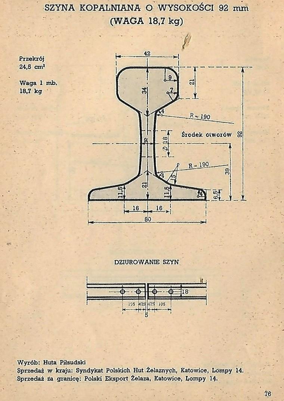 Huta Piłsudski - szyna kopalniana 92 mm - 18,7 kg.jpg