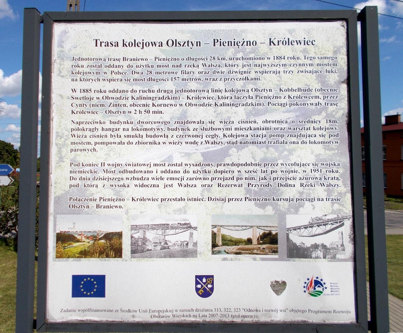 Pieniężno - tablica informacyjna o moście na Wałszy.jpg
