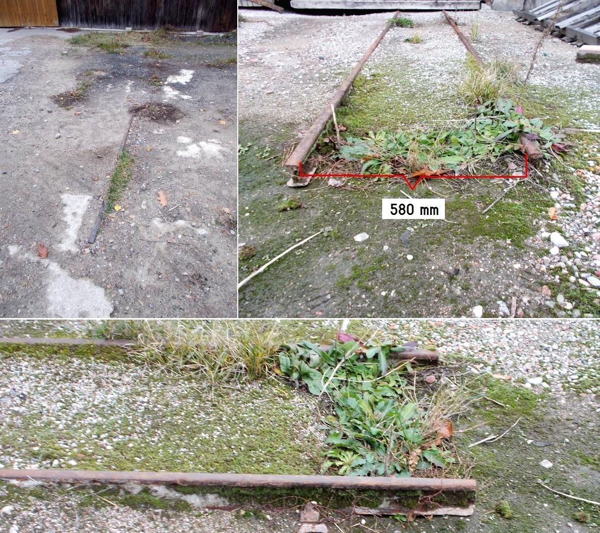Relikty szyn wąskotorowych w Dobrym Mieście na terenie byłego Zakładu Drzewnego (2).jpg
