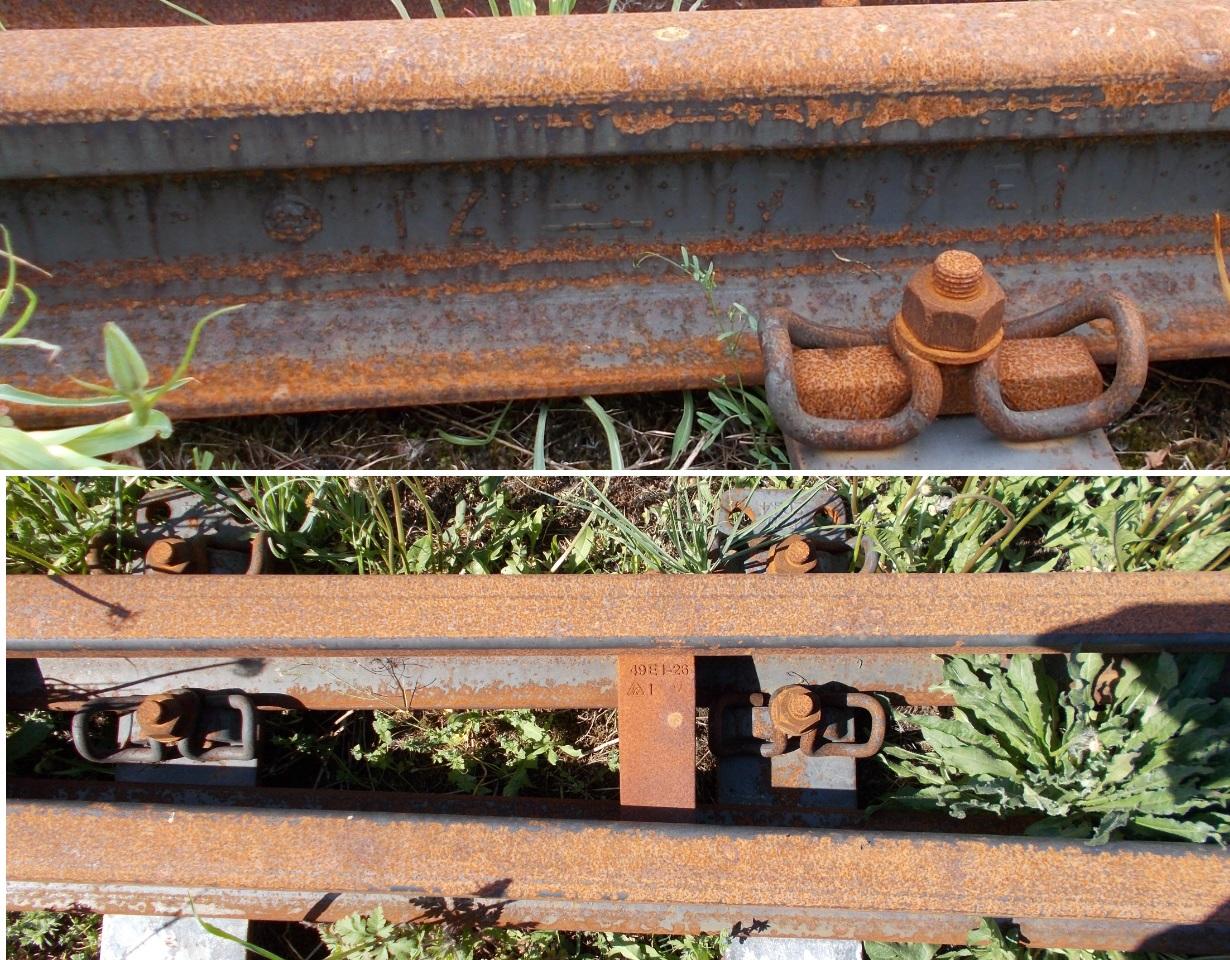 Stacja Dobre Miasto.  Luźna szyna (element rozjazdu), złożona pomiędzy torami 2 i 4 na wys...jpg