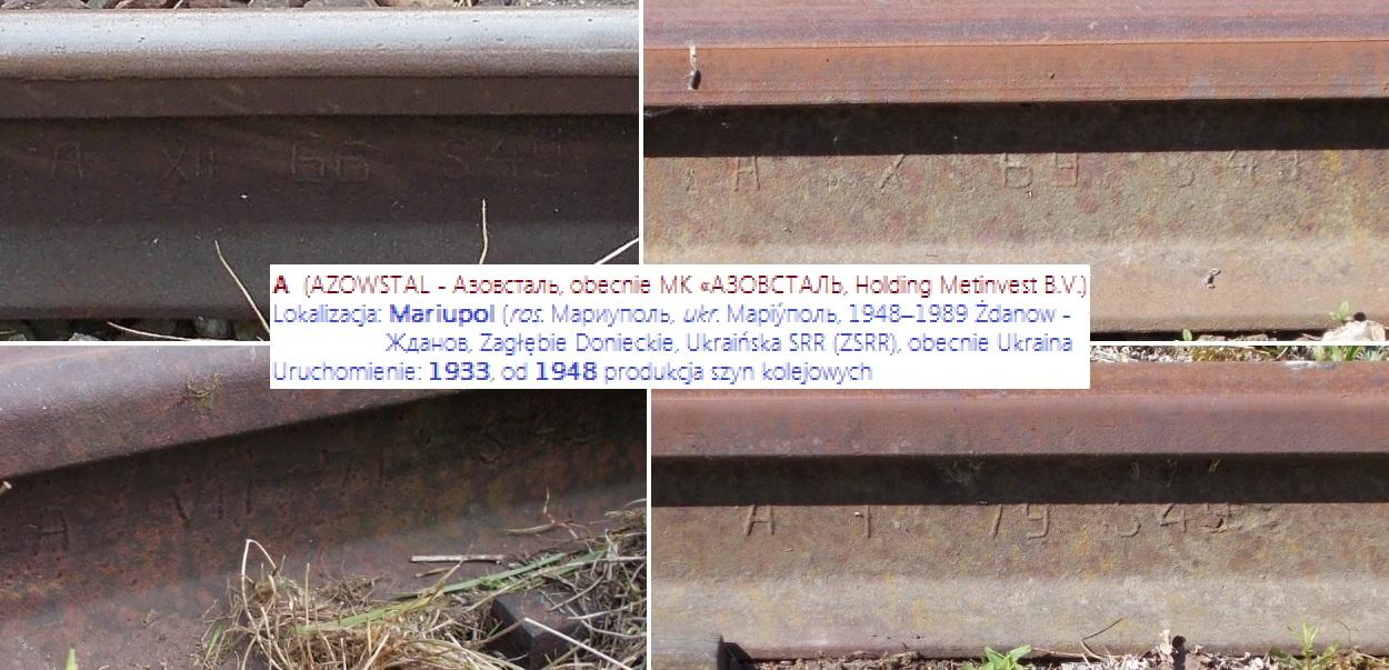Stacja Dobre Miasto. Szyny radzieckie (ZSRR), S49 Azowstal (A) XII 1966, X 1969, VII 1971, I 1...jpg