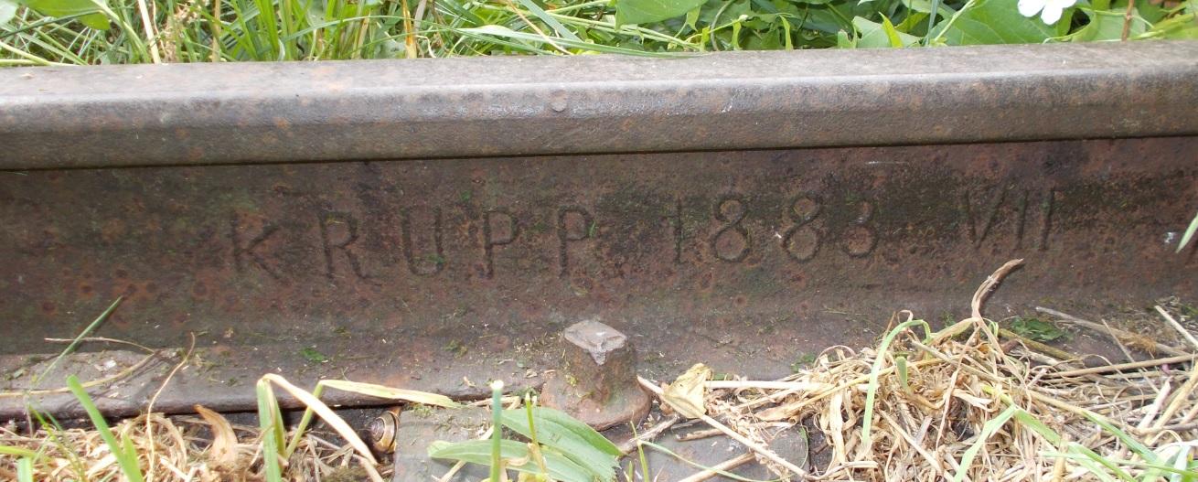 Stacja Dobre Miasto, tor 5, prawa, środkowy odcinek toru, za krzakami. KRUPP 1883 VII.jpg