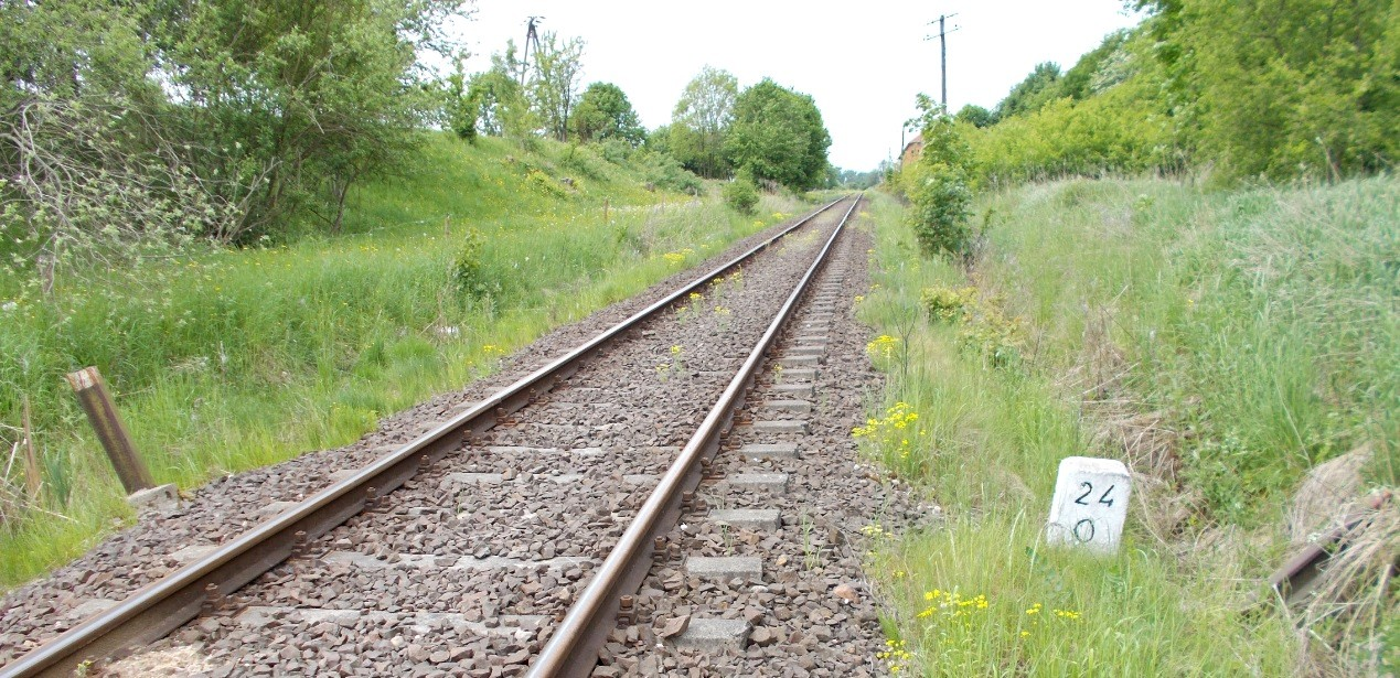Stacja Dobre Miasto, tor szlakowy na Braniewo, kilometraż 24.0 linii. Słupki z szyn - po lew...jpg