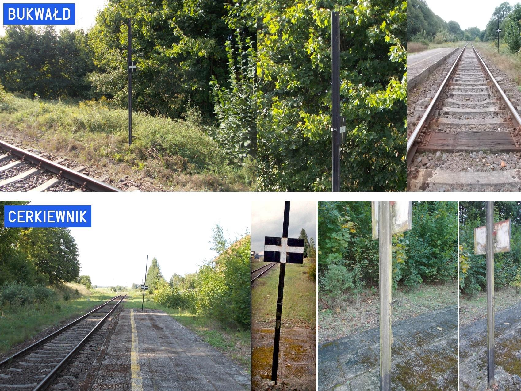 Szyny wąskotorowe jako słupki wskaźnika W-4 na stacji Bukwałd i Cerkiewnik.jpg