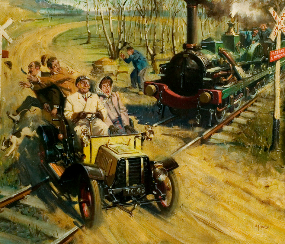 Terence Cuneo 'Veteran Crossing a French Railway' 1950.jpg