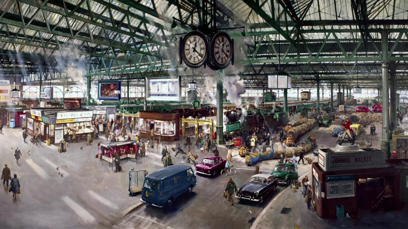 Terence Cuneo 'Waterloo Rail Station' 1967.jpg