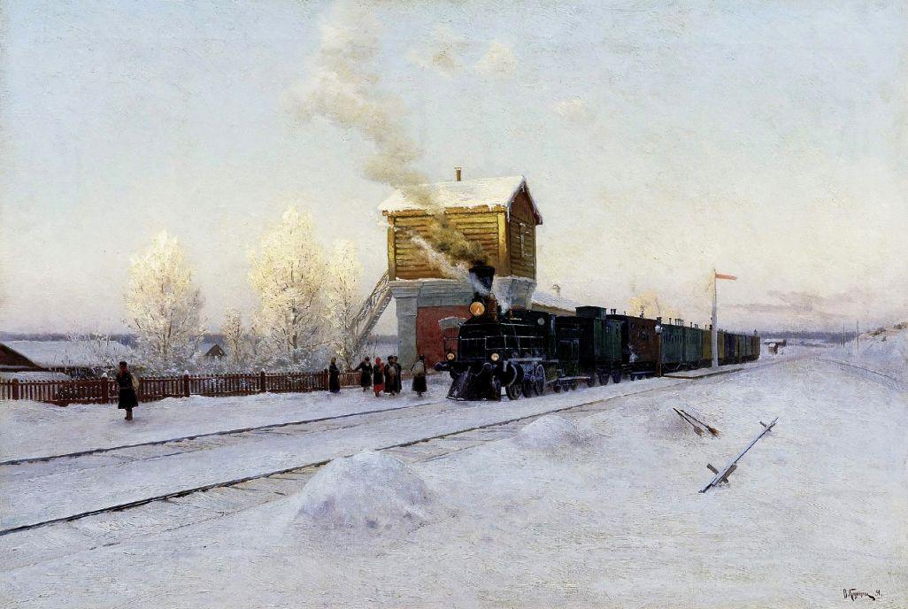 Władimir Kazancew 'Na stacji. Zimowy poranek na Uralskiej Drodze Żelaznej' 1891.jpg